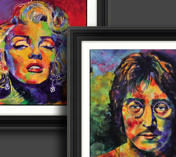 Framed pictures of famous artists.