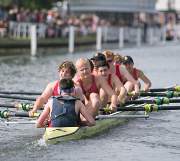 Rowing boat sports team.