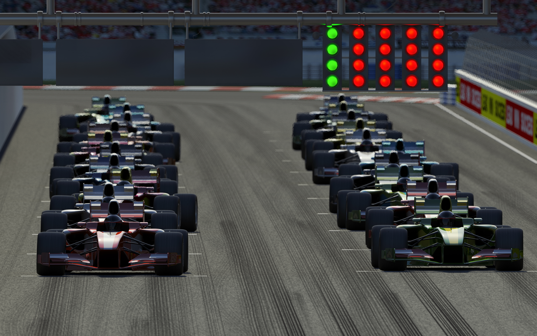 Formula 1 racing start grid.