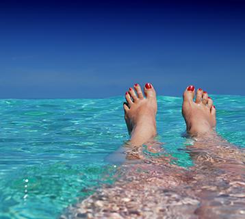 Bathing in the ocean.